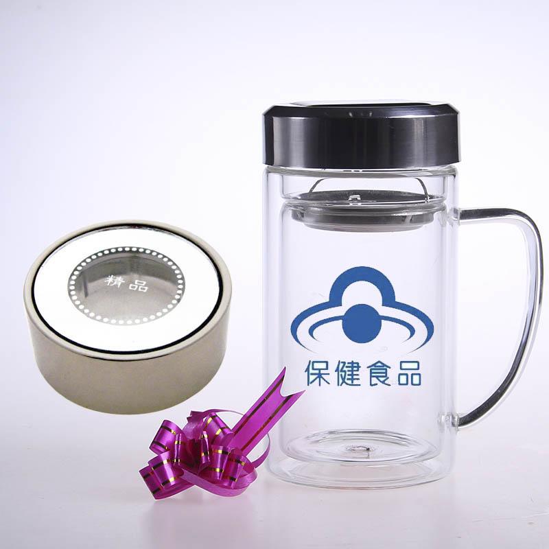 双层玻璃杯透明盖